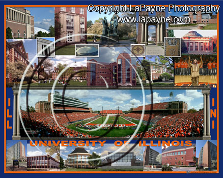 U of I Campus Composite with Memorial Staduim from the Endzone