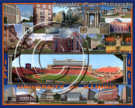 U of I Campus Composite with Memorial Stadium from Midfield
