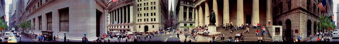 Wall Street panorama with People