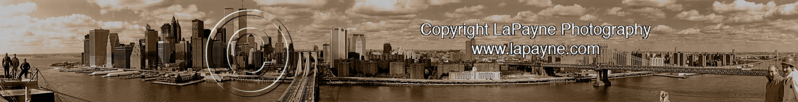 Manhattan from atop the Brooklyn Bridge - Sepia