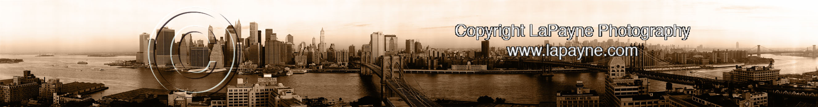 New York Skyline 2001 Sunrise - Sepia