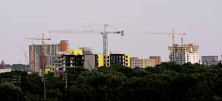 Champaign, Illinois Skyline with Cranes