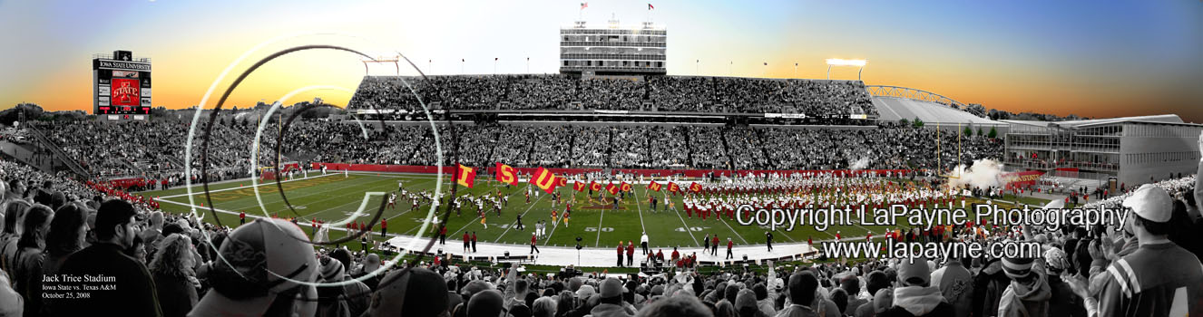 Iowa State Jack Trice Stadium manipulated Panorama