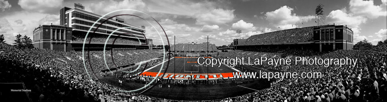 Renovated Memorial Stadium 2008 endzone Black & White