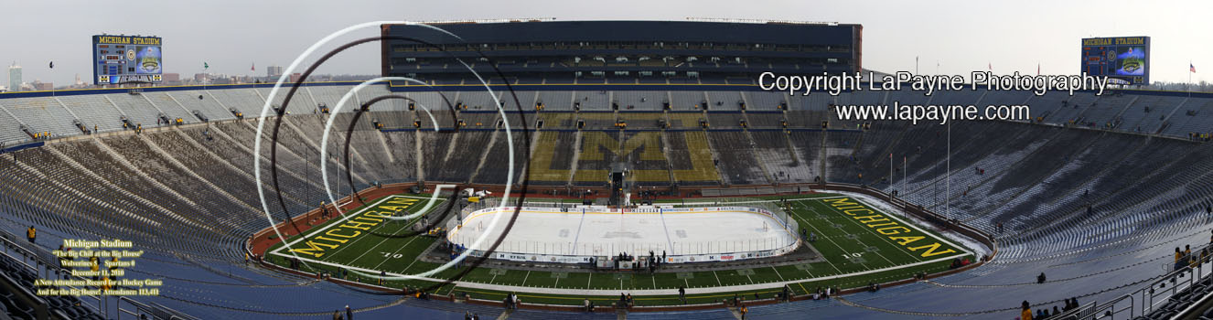Hockey at Michigan Stadium panorama- Empty Stadium 36 inch