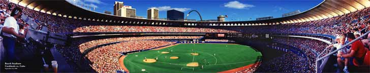 Busch Stadium with the Gateway Arch